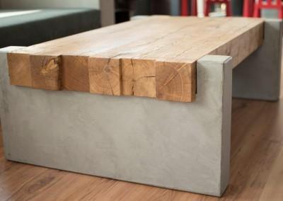 massTisch15 Couchtisch Holz Beton