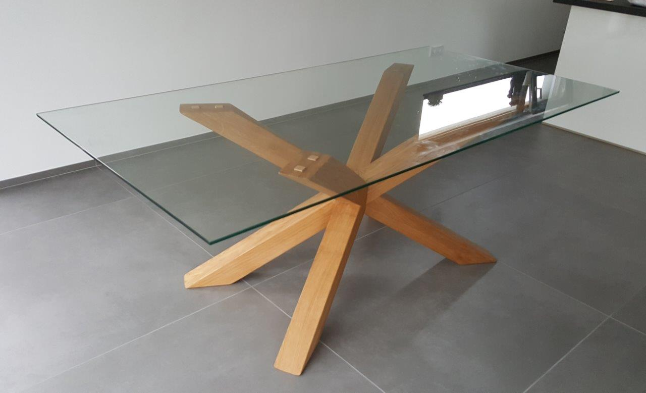 Maintisch holz eiche esstisch masstisch glastisch gestell for Glastisch esstisch