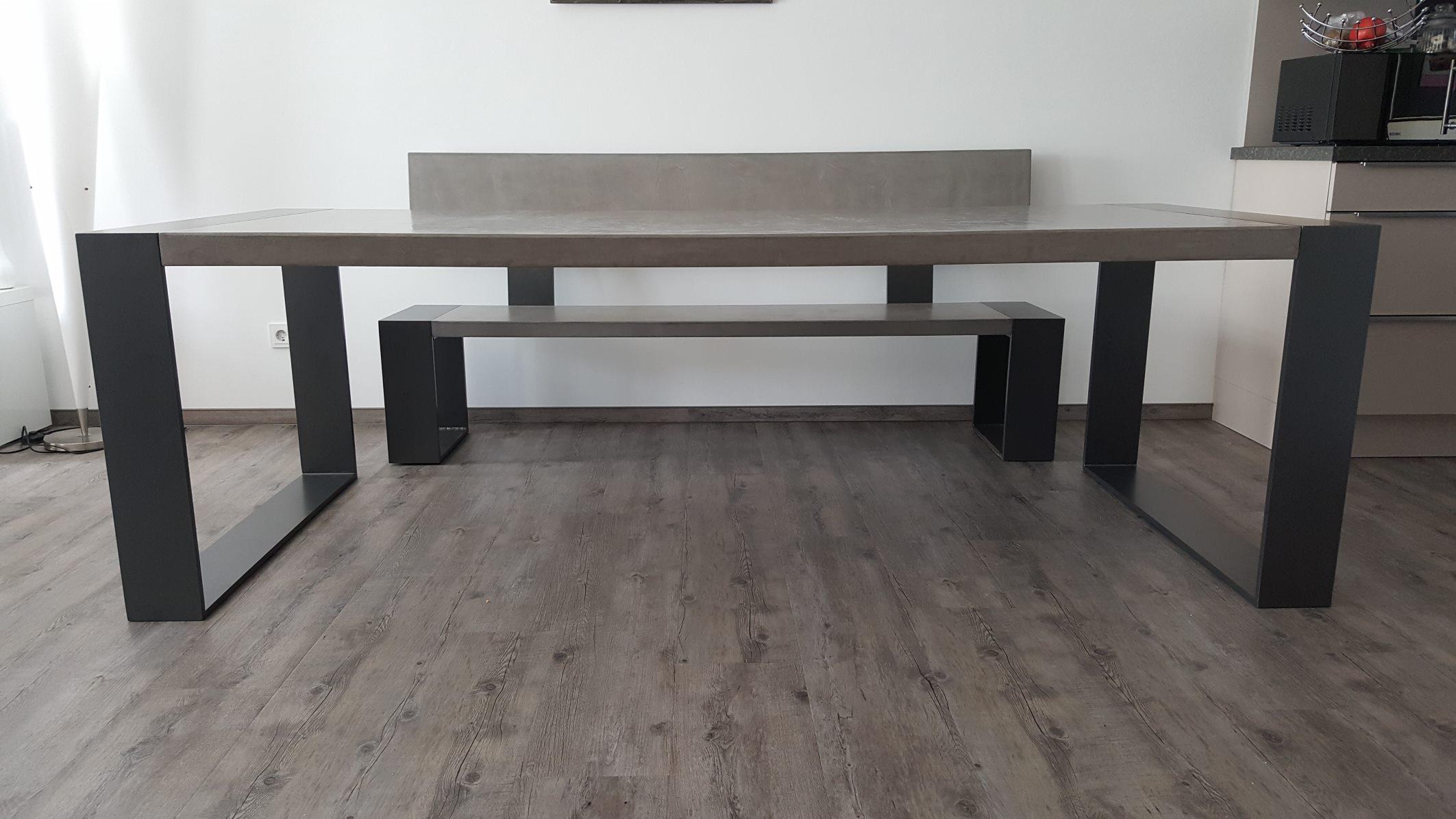 maintisch beton tisch betontisch sitzbank masstisch schreibtisch esstisch stahlrahmen. Black Bedroom Furniture Sets. Home Design Ideas