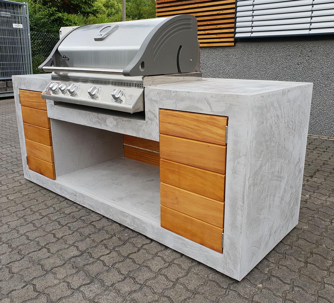 Aussenkueche Grill Beton Holz Outdoor Living Betonboden ...