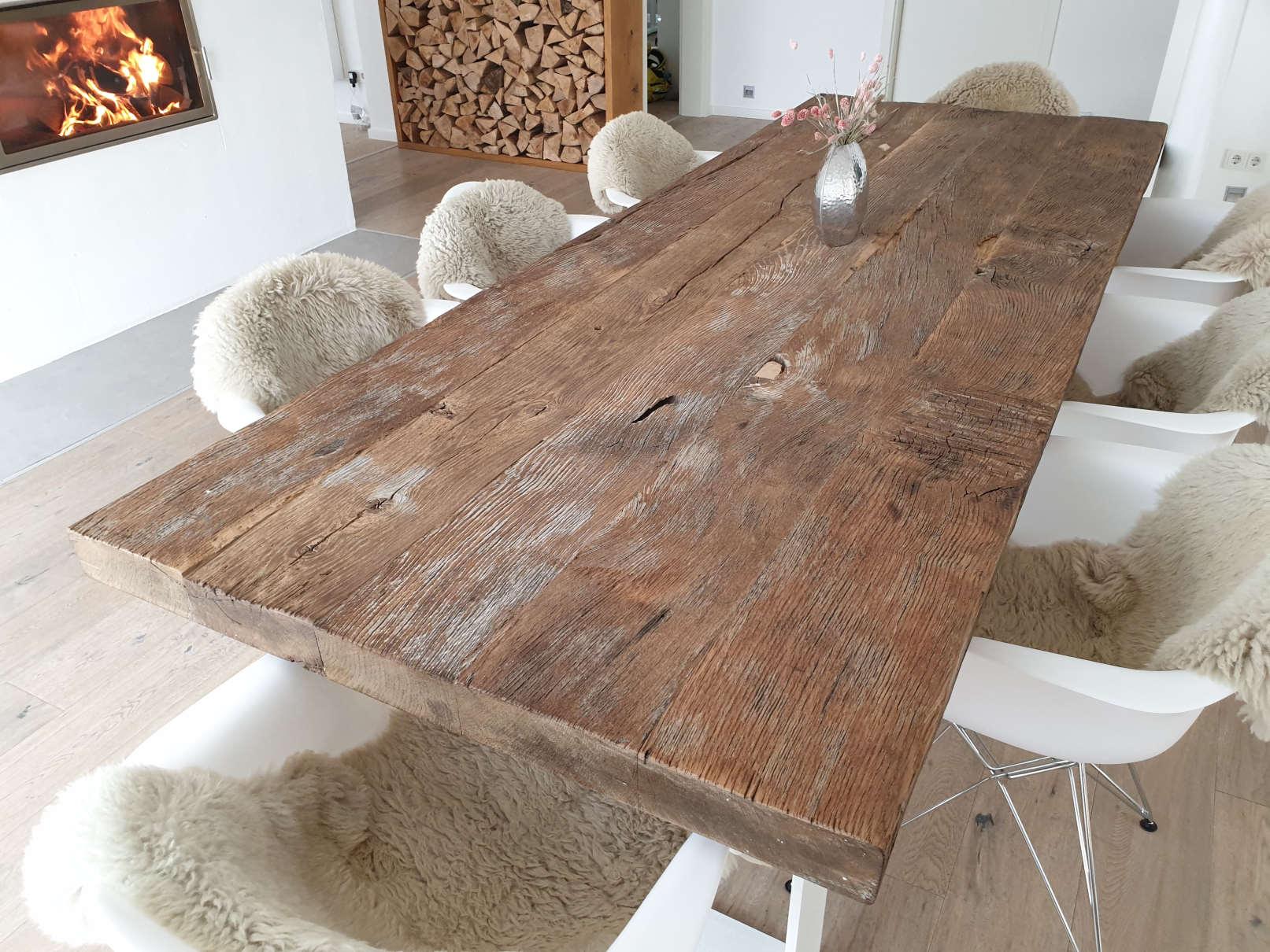 mainTisch Altholz Altholzplatte Altholztischplatte Eiche Tisch Tischplatte_6